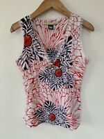 CLASS roberto cavalli Women's Tank Top White Red Gold Size 6 Made In Italy #0368