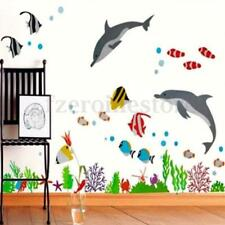Dolphin&Fish Under The Sea Bathroom Decor Wall Stickers Kids Bedroom Vinyl Paper