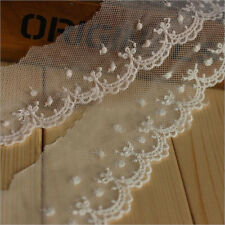 1Yard Mesh Eyelet Embroidered Lace Trim Wedding Ribbon Applique Sewing Craft