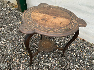Large carved oak plant stand table lot NSE06032B