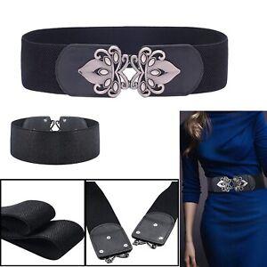 Women 60mm Fashion Black Elastic Wide Stretchy Waist Belt with Gunmetal Buckle
