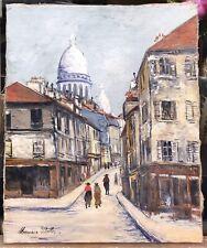Tableau Ancien Huile Paris Montmartre Sacré Cœur Signature 'Maurice Utrillo'