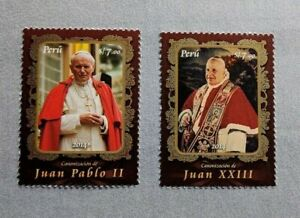 Stamps PERU Popes John Paul II and John XIII Religion papa MNH 2014