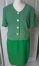 Vintage Betty Barclay skirt suit Size 16 green jacket polka dots summer event