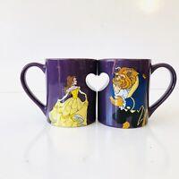 🔥 DISNEY Parks Store BEAUTY and the BEAST Ceramic Cup Coffee Mug Art Set HTF