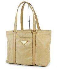 Authentic PRADA Beige Nylon and Leather Tote Handbag Purse #36210