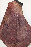Large Jamavar, Wool Paisley Shawl. Deep Blue & Burgundy