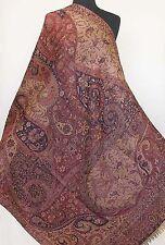 Large Jamavar, Wool Paisley Shawl. Deep Blue & Burgundy