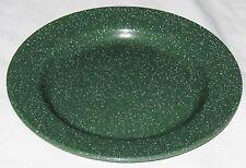 """Metal Graniteware Green Speck 10"""" Dinner Plate"""