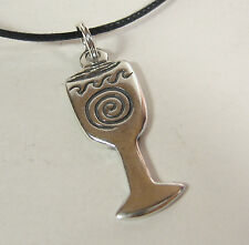 Chalice Spiral Charm Pendant Necklace .925 Sterling Silver USA Made Wikken Mens