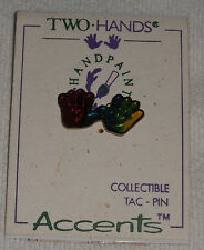 Handpainted Two Hands Inc. Collectible Tac Pin Multi Color Hands Hearts Jewelry