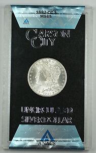 1882-CC ANACS MS-65 GSA Morgan Silver Dollar Gem BU Coin w/ Box & COA