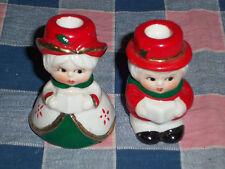 "Cute Christmas Carolers Boy Girl Candleholders 2 1/2"" High"
