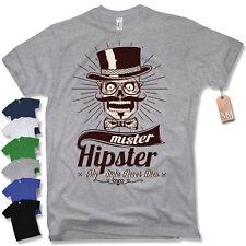 T-Shirt - MISTER HIPSTER - RETRO VINTAGE schwarz beard Bart man S M L XL XXL