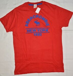 abercrombie and fitch muscle applique t shirt tops men S,M,L,XL Red