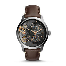 FOSSIL ME1163 Townsman Twist Multifunction Dark Brown Leather 44mm Men's Watch