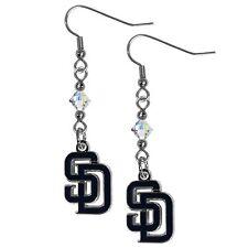 San Diego Padres MLB Crystal Dangle Earrings, Baseball Jewelry