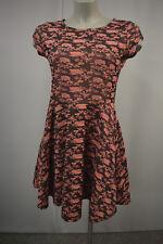 QED LONDON A-Linie Kleid Gr. S  M Rosa Muster Baumwolle Kurzarm rosa-schwarz TOP