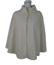Womens East 5th Vtg Cape OSFM Off White Fleece One Button Closure