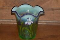 Fenton Vase Designer Showcase Series Willow Green Opalescent Purple Iris  Spring
