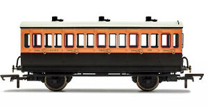Hornby 00 Gauge L & SWR 4 wheel Coach R40108A 3rd class Fitted lights New boxed