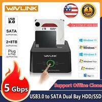 "Wavlink USB 3.0 to SATA Dual Bay Hard drive Docking Station for 2.5"" 3.5""HDD/SDD"
