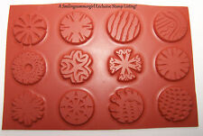 "12 Round Unmounted 1"" Inchie Texture Rubber Stamps for Polymer, PMC, Paper, Clay"