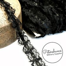 25mm Frilly Black Lace Trim with Satin Centre for Hat Trims & Millinery - 1m