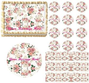 Shabby Chic Pink Roses Flowers Edible Cake Topper Image Frosting Sheet Cake NEW