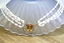 Natural Citrine and Multi Strand Pearl Necklace in Solid 14K Yellow Gold  Bridal