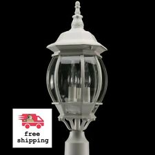 """White Outdoor Cast Aluminum Post Light 20.7"""" Beveled Clear Glass Lamp Hardwired"""