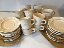 PFALTZGRAFF  Remembrance Pattern Cups / Mugs Saucers 14 Set - Ivory/Pink Flowers