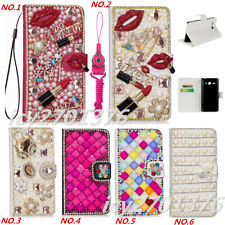 PU Leather Flip Bling Diamond Wallet Case Girls' Phone Cover bag with strap #89