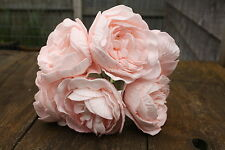 6 x PALE / BABY PINK COLOURFAST FOAM PEONY ROSES 9cm  WEDDING BRIDAL FLOWERS