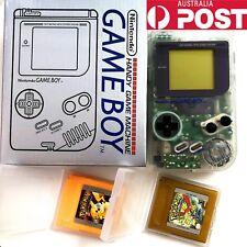 Nintendo Game Boy - Original DMG Clear Handheld System + Pokemon Yellow and Gold
