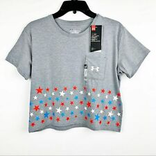 New listing Nwt Under Armour Girls Tee Shirt Patriotic Us Flag Stars Top Youth Size L