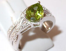 AA Peridot and Topaz banded ring in platinum overlay Sterling Silver. Size N.