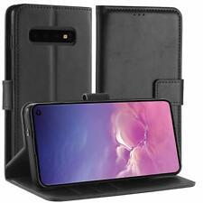 Coque Samsung Galaxy S10 en Cuir Housse Etui Anti Choc Portefeuille Support Noir
