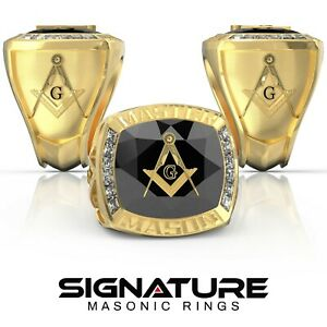 Masonic Championship Ring - Choose Stone - Freemasonry Master Mason Lodge Champ