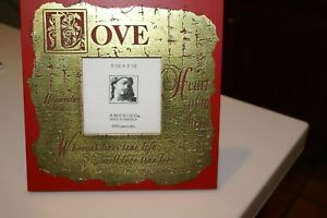"""AMERIGO RED PICTURE FRAME 3.5"""" SQUARE PICTURE LOVE IN GOLD ELIZABETH BROWNING"""
