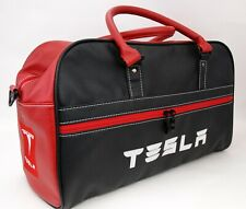 Bag Tesla PU Leather Black/Red Embroidery White Travel Sport Everyday