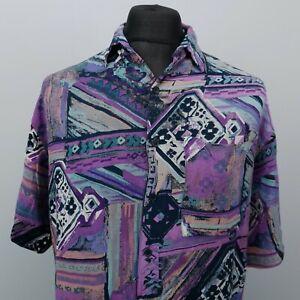 RETRO Men Vintage Shirt FUNKY CRAZY HIPPY MEDIUM Purple Relaxed Abstract Viscose