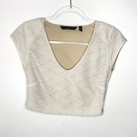 Kardashian Kollection Womens Size M Crop Top Blouse Textured Side Zip