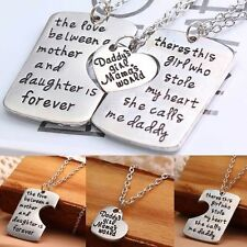 3pc Daddys Girl Mommys World Necklace Set Mother Father Daughter Forever Jewelry