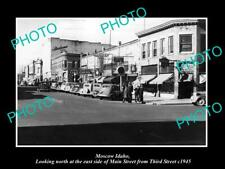 OLD POSTCARD SIZE PHOTO OF MOSCOW IDAHO THE MAIN STREET & STORES c1945