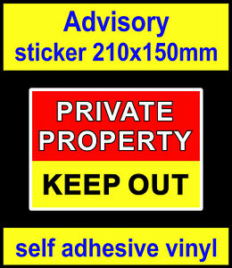 Private property keep out stickers Fence security Intruder deterrent door sign