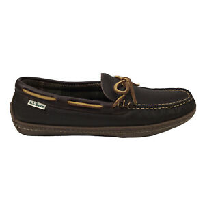 NEW LL Bean Handsewn 212164 Brown Leather Flannel Moccasin Slippers Mens 8 M