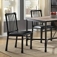 Set of 2 Metal Kitchen Dining Chair Armless Modern Industrial Padded Seat Black