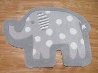 2x3 Elephant Shape Grey Rug Kids Style Handmade Wool Rugs & Carpet Elephant Toy