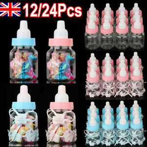 12/24PCS Fillable Bottles Candy Box Baptism Party Baby Shower Favour Christening
